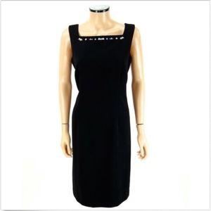 TALBOTS Sheath Dress Black Flower Appliqué 10